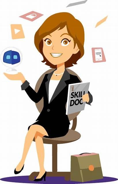 Secretary Cartoon Clipart Skills Intelligence Artificial Clip
