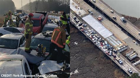virginia pileup  cars involved  injured  crash