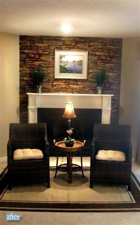 faux stone wallpaper   fireplace mantle