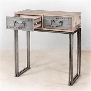 Console Fer Et Bois : console en bois recycl s avec 2 tiroirs m tal industryal ~ Teatrodelosmanantiales.com Idées de Décoration