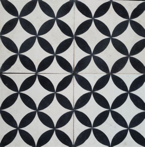 petals black cement tile