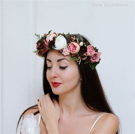 Rose Peony Flower Crown Wedding Hair Wreath Bridal