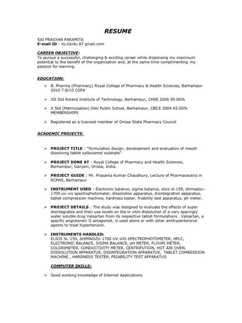 Cv Preparation Format by D Pharma Resume Format Format Pharma Resume