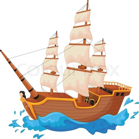 Ship Cartoon by Vector Illustration Of Cartoon Ship Isolated Stock