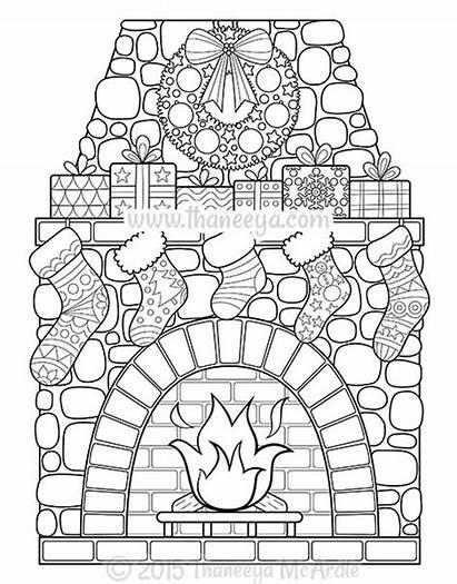 Coloring Christmas Thaneeya Mcardle Sheets Brick Fireplace