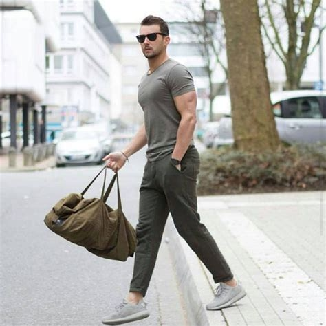 Menu0026#39;s Olive Crew-neck T-shirt Olive Chinos Grey Athletic Shoes Olive Canvas Duffle Bag ...