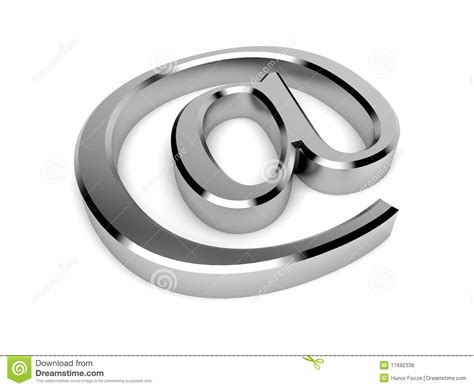 Isolated 3d Chrome Email / Contact Symbol Royalty Free