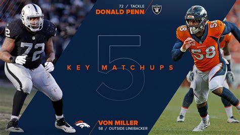 key matchups broncos  raiders