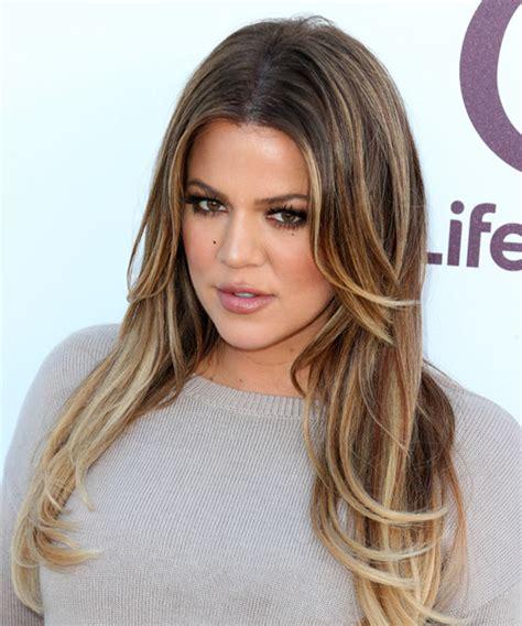 Khloe Kardashian Long Straight Caramel Brunette Hairstyle ...