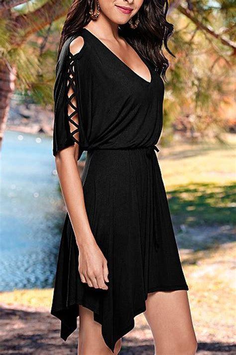 women  neck  sleeves black skater dress