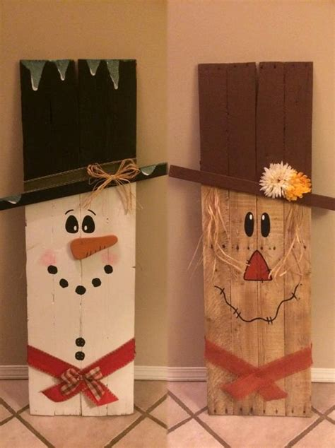 items similar  reversible wooden scarecrow snowman  etsy