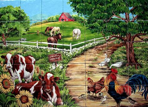 Farm Animal Wallpaper For Kitchen - kitchen tile farm murals farm welcome custom tile mural