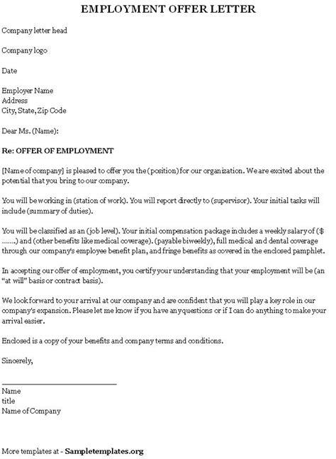 employment template  offer letter sample  employment