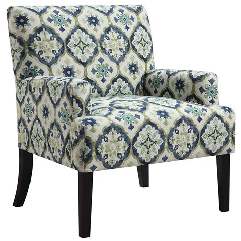 blue and green kaleidoscope pattern accent chair from