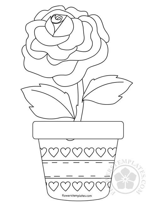 rose flower  pot coloring page flowers templates