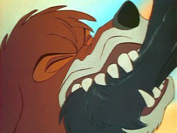 tod biting  bear  fox   hound disney