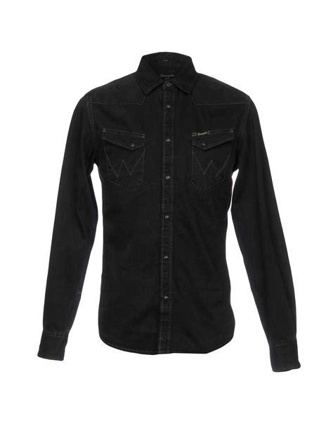 wrangler denim shirt  black  men lyst