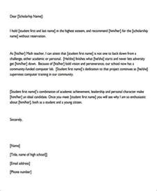 Personal Scholarship Recommendation Letter Sample