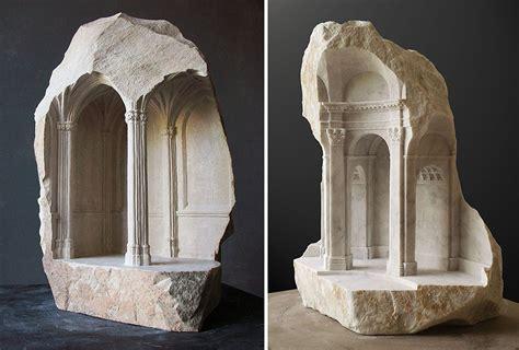 sculptor carves realistic architectural sculptures