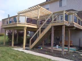 harmonious second floor deck second story deck with pergola for the home
