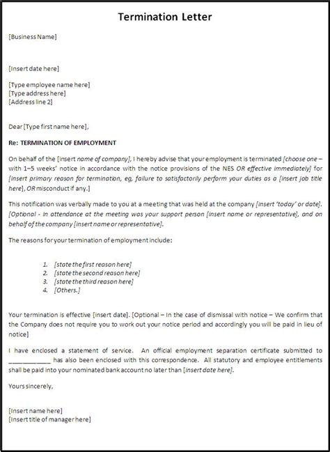 termination letters  word templates