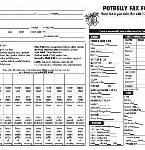 uncomplicated potbelly fax order form for your sandwich