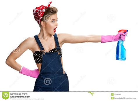 Beautiful Cleaning Girl Wearing Pink Rubber Protective