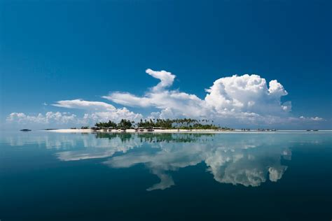 island, Sea, Water, Clouds, Reflection, Palm trees ...