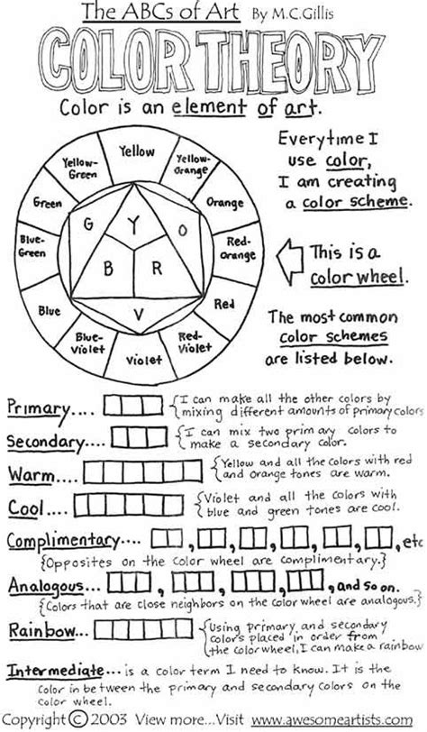 color theory worksheet color theory worksheet click image to find more