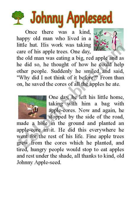 appleseed johnny story printable worksheets worksheet tale esl indiana