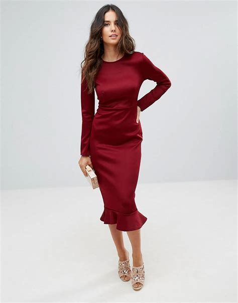 Club L Office Long Sleeve Detailed Dress With Peplum Frill