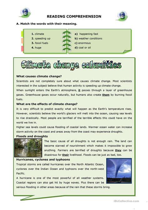 climate change calamities worksheet  esl printable