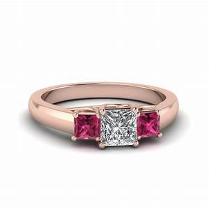 Princess cut trellis 3 stone diamond engagement ring with for Princess cut pink diamond wedding rings