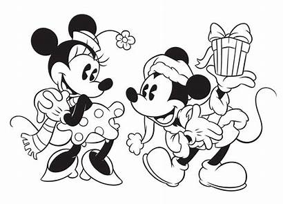 Coloring Disney Mickey Mouse Minnie Giving Gift