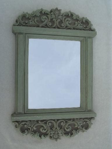 Distressed Green Country French Style Wall Mirror, Vintage