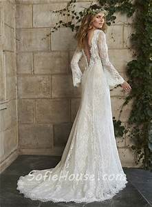 vintage mermaid scalloped neck low back long sleeve lace With low back vintage wedding dresses