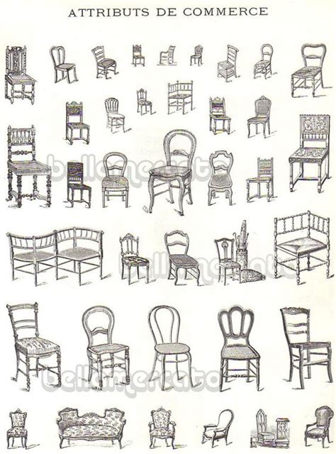 different types of design styles vintage french furniture book illustrations of chairs beds from france advertising art from