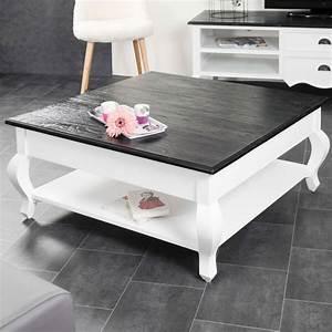 Table De Salon Bois : table basse acajou bois massif carr e blanche noire idao 95 cm ~ Teatrodelosmanantiales.com Idées de Décoration