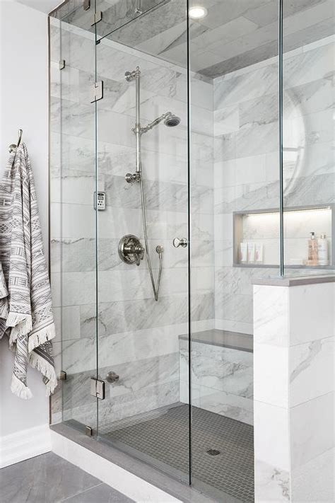 gray  white marble floating shower bench transitional