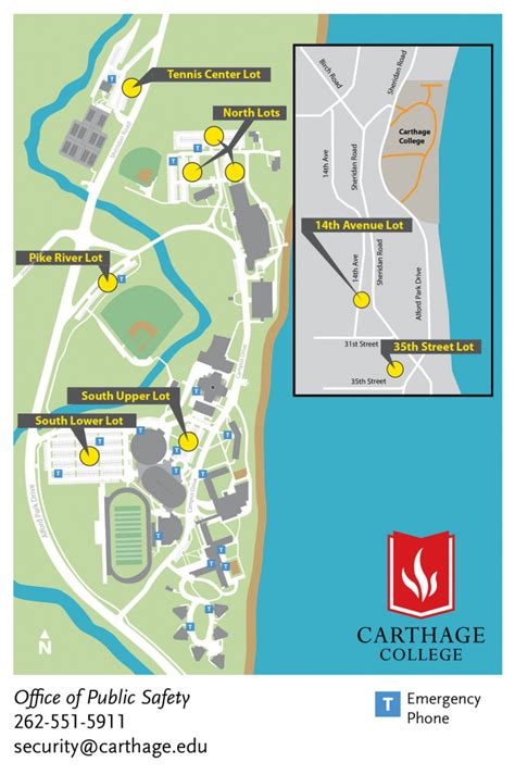parking lot map security carthage college