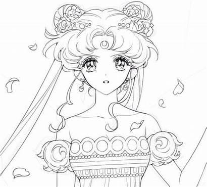 Princess Serenity Sailor Moon Coloring Pages Crystal