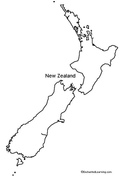 outline map  zealand enchantedlearningcom