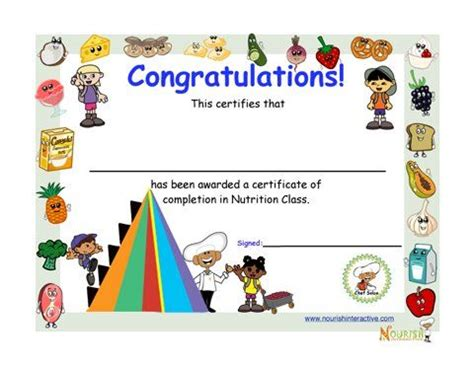 certificates of completion for kids fun my food pyramid award for kids printable nutrition