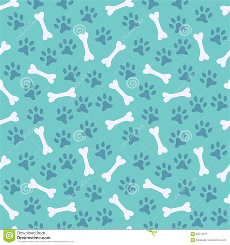 Printing Web Page Background Colors And Images Animal Seamless Pattern Of Paw Footprint And Bone Stock