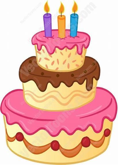 Cake Birthday Candles Three Tiered Pink Cartoon