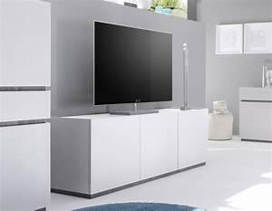 Meuble Tele Moderne : meuble tv moderne blanc laqu mat ~ Teatrodelosmanantiales.com Idées de Décoration