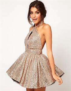 Gold Sequin Dress - Halter backless sequined lace waist ...