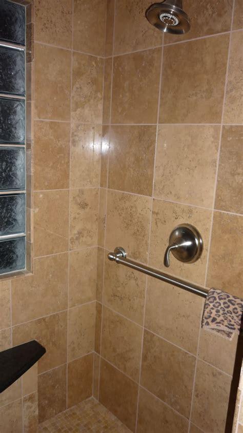 garden tub and shower combo travertine vs porcelain tile