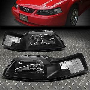 FOR 1999-2004 FORD MUSTANG PAIR BLACK HOUSING CLEAR CORNER HEADLIGHT/LAMP SET | eBay
