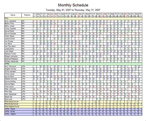 monthly employee shift schedule template task list templates